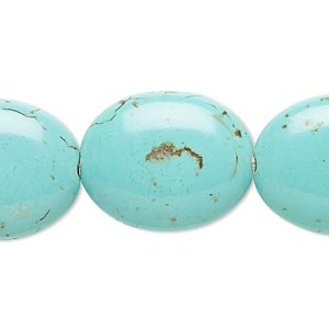 bead, magnesite (dyed / stabilized), blue-green, 23x19mm-24x20mm puffed oval, b- grade, mohs hardness 3-1/2 to 4. sold per 15-inch strand.
