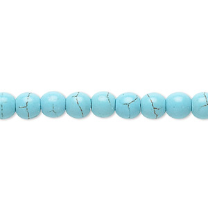 bead, magnesite (dyed / stabilized), blue-green, 5-6mm round, c grade, mohs hardness 3-1/2 to 4. sold per 15-inch strand.