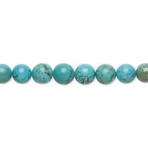bead, magnesite (dyed / stabilized), blue-green, 5-7mm round, c grade, mohs hardness 3-1/2 to 4. sold per 16-inch strand.