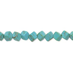 bead, magnesite (dyed / stabilized), blue-green, 5x5mm diagonally drilled cube, c grade, mohs hardness 3-1/2 to 4. sold per 15-inch strand.
