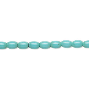 bead, magnesite (dyed / stabilized), blue-green, 6x4mm oval, c grade, mohs hardness 3-1/2 to 4. sold per 15-inch strand.