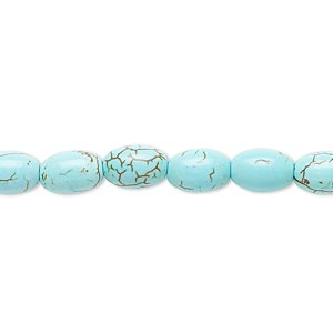 bead, magnesite (dyed / stabilized), blue-green, 8x6mm-9x6mm oval, b- grade, mohs hardness 3-1/2 to 4. sold per 15-inch strand.