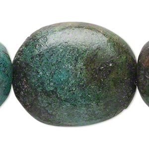 bead, magnesite (dyed / stabilized), blue-green, extra-large nugget, mohs hardness 3-1/2 to 4. sold per 15-inch strand.