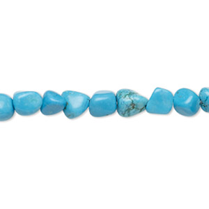 bead, magnesite (dyed / stabilized), blue, small to large pebble, mohs hardness 3-1/2 to 4. sold per 15-inch strand.