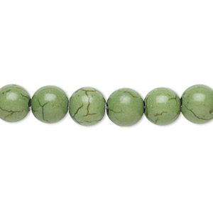 bead, magnesite (dyed / stabilized), green, 8mm round with 2-2.5mm hole, b grade, mohs hardness 3-1/2 to 4. sold per pkg of 10.