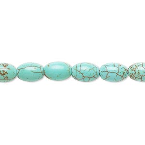 bead, magnesite (dyed / stabilized), green, 8x6mm-9x6mm oval, b grade, mohs hardness 3-1/2 to 4. sold per 15-inch strand.
