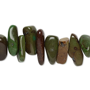 bead, magnesite (dyed / stabilized), green-brown, extra-large chip, mohs hardness 3-1/2 to 4. sold per 15-inch strand.