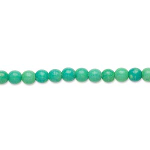 bead, magnesite (dyed / stabilized), kelly green, 4mm round, c grade, mohs hardness 3-1/2 to 4. sold per 16-inch strand.