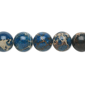 bead, magnesite (dyed / stabilized), lapis blue, 10mm round, b grade, mohs hardness 3-1/2 to 4. sold per 16-inch strand.