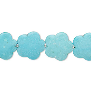 bead, magnesite (dyed / stabilized), light blue, 15x15mm flower, b grade, mohs hardness 3-1/2 to 4. sold per 15-inch strand.