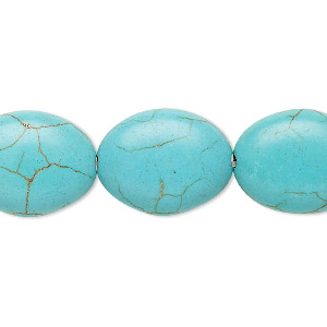 bead, magnesite (dyed / stabilized), light blue, 19x15mm-20x15mm puffed oval, c grade, mohs hardness 3-1/2 to 4. sold per 15-inch strand.