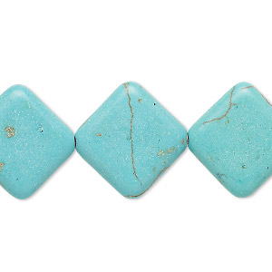 bead, magnesite (dyed / stabilized), light blue, 20x19mm-20x20mm flat diamond, c grade, mohs hardness 3-1/2 to 4. sold per 15-inch strand.