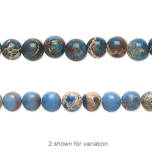 bead, magnesite (dyed / stabilized), light blue, 6mm round, b grade, mohs hardness 3-1/2 to 4. sold per 16-inch strand.