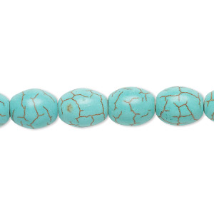 bead, magnesite (dyed / stabilized), light teal green, 11x9mm oval, c grade, mohs hardness 3-1/2 to 4. sold per 15-inch strand.