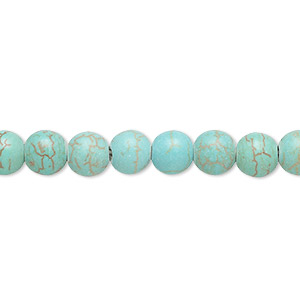 bead, magnesite (dyed / stabilized), light teal green, 5-6mm round, c grade, mohs hardness 3-1/2 to 4. sold per 15-inch strand.