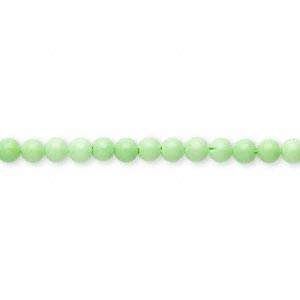 bead, magnesite (dyed / stabilized), lime green, 3-4mm round, c grade, mohs hardness 3-1/2 to 4. sold per 15-inch strand.