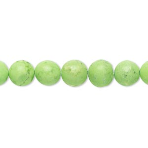 bead, magnesite (dyed / stabilized), lime green, 8mm round, b grade, mohs hardness 3-1/2 to 4. sold per 16-inch strand.