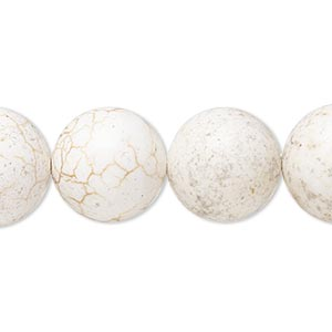 bead, magnesite (dyed / stabilized), matte white, 15-16mm round, mohs hardness 3-1/2 to 4. sold per 8-inch strand.