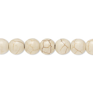 bead, magnesite (dyed / stabilized), tan, 7-8mm round, c+ grade, mohs hardness 3-1/2 to 4. sold per 15-inch strand.