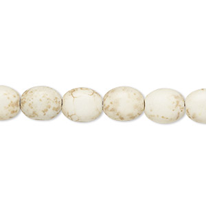 bead, magnesite (dyed / stabilized), tan, 9x8mm-10x8mm puffed oval, c grade, mohs hardness 3-1/2 to 4. sold per 15-inch strand.