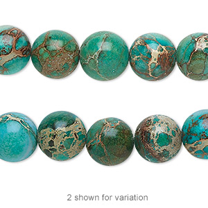 bead, magnesite (dyed / stabilized), turquoise blue, 10mm round, b grade, mohs hardness 3-1/2 to 4. sold per 16-inch strand.