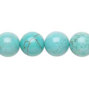 bead, magnesite (dyed / stabilized), turquoise blue, 12mm round, b grade, mohs hardness 3-1/2 to 4. sold per 16-inch strand.