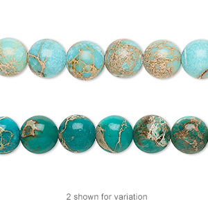 bead, magnesite (dyed / stabilized), turquoise blue, 8mm round, b grade, mohs hardness 3-1/2 to 4. sold per 16-inch strand.