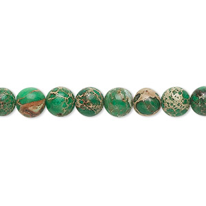 bead, magnesite (dyed / stabilized), turquoise green, 6mm round, b grade, mohs hardness 3-1/2 to 4. sold per 16-inch strand.