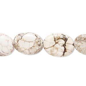 bead, magnesite (stabilized), white, 15x11mm-16x13mm flat oval, d- grade, mohs hardness 3-1/2 to 4. sold per 15-inch strand.