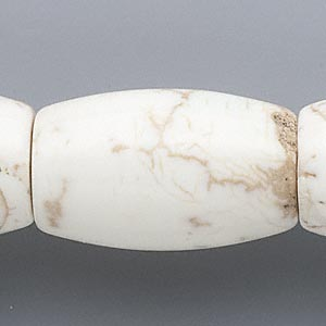 bead, magnesite (stabilized), white, 38x24mm-40x25mm barrel, c grade, mohs hardness 3-1/2 to 4. sold per 15-inch strand.