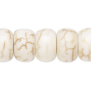 bead, magnesite (stabilized), white, 8x5mm rondelle with 2-2.5mm hole, b grade, mohs hardness 3-1/2 to 4. sold per pkg of 10.