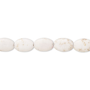 bead, magnesite (stabilized), white, 9x6mm-10x7mm puffed oval, c- grade, mohs hardness 3-1/2 to 4. sold per 15-inch strand.