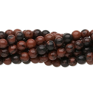 bead, mahogany obsidian (natural), 4mm round, c grade, mohs hardness 5 to 5-1/2. sold per pkg of (10) 16-inch strands.