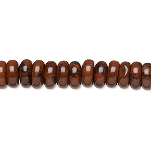 bead, mahogany obsidian (natural), 8x4mm rondelle, b grade, mohs hardness 5 to 5-1/2. sold per 16-inch strand.