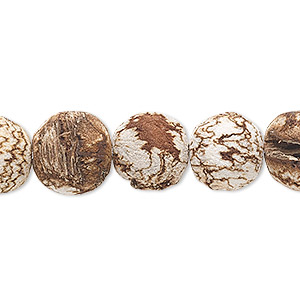 bead, mahogany tree seed (coated), 11mm round. sold per 16-inch strand.