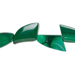 bead, malachite (natural), 17x9mm-19x11mm freeform, b grade, mohs hardness 3-1/2 to 4. sold per 8-inch strand.