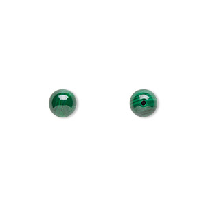 bead, malachite (natural), 6mm half-drilled round with 0.5-1.5mm hole, b grade, mohs hardness 3-1/2 to 4. sold per pkg of 10.