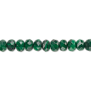 bead, malachite (natural), 6x4mm faceted rondelle with 0.5-1.5mm hole, b grade, mohs hardness 3-1/2 to 4. sold per 8-inch strand, approximately 45 beads.