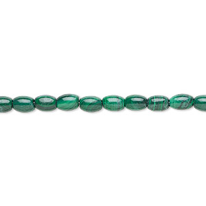 bead, malachite (natural), 6x4mm oval with 0.5-1.5mm hole, b grade, mohs hardness 3-1/2 to 4. sold per 8-inch strand, approximately 30 beads.