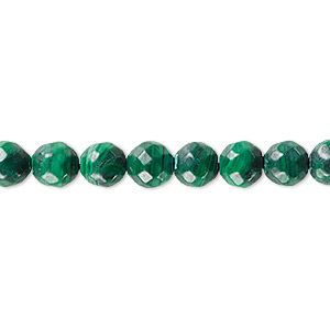 bead, malachite (natural), 8mm faceted round, b grade, mohs hardness 3-1/2 to 4. sold per 16-inch strand.