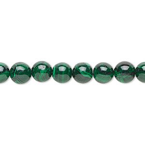 bead, malachite (natural), 8mm round with 0.5-1.5mm hole, b grade, mohs hardness 3-1/2 to 4. sold per 8-inch strand, approximately 20 beads.
