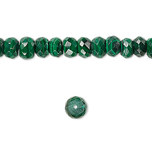 bead, malachite (natural), 8x4mm faceted rondelle, b grade, mohs hardness 3-1/2 to 4. sold per 16-inch strand.