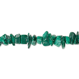 bead, malachite (natural), small chip, mohs hardness 3-1/2 to 4. sold per 36-inch strand.