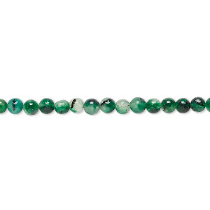 bead, malaysia jade (dyed), dark green, 3-4mm round, d grade, mohs hardness 7. sold per 15-inch strand.