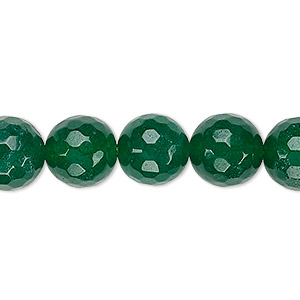 bead, malaysia jade (dyed), green, 11-12mm faceted round, b grade, mohs hardness 7. sold per 15-inch strand.