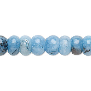 bead, malaysia jade (dyed), light to dark blue, 10x6mm-11x7mm rondelle, c grade, mohs hardness 7. sold per 15-inch strand.