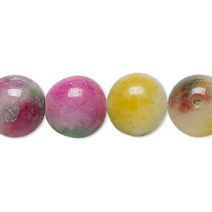 bead, malaysia jade (dyed), multicolored, 13-14mm round, d grade, mohs hardness 7. sold per 14-inch strand.