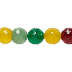 bead, malaysia jade (dyed), multicolored, 9-10mm faceted round, c grade, mohs hardness 7. sold per 14-inch strand.