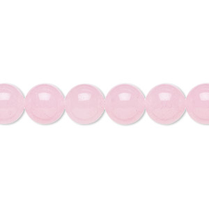 bead, malaysia jade (dyed), pink, 8mm round, b grade, mohs hardness 7. sold per 16-inch strand.