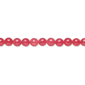 bead, malaysia jade (dyed), red, 4mm round, b grade, mohs hardness 7. sold per 16-inch strand.